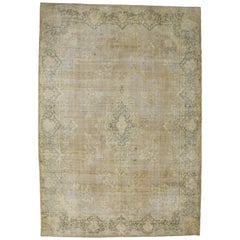 Distressed Vintage Turkish Oversized Rug with Shabby Chic Farmhouse Style