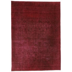 Distressed Vintage Turkish Red Overdyed Rug with Luxe Style