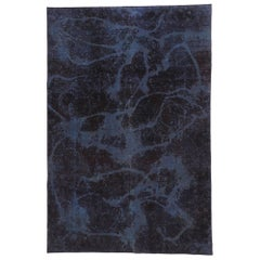 Distressed Vintage Turkish Overdyed Rug with Luxe Abstract Expressionist Style