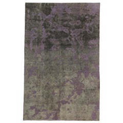 Distressed Vintage Turkish Overdyed Rug with Modern Industrial Steampunk Style