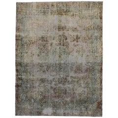 Distressed Vintage Turkish Rug with Modern Contemporary Abstract Style
