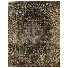 Distressed Vintage Turkish Rug with Modern Luxe Style and Bone Inlay Pattern
