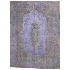 Distressed Vintage Turkish Overdyed Rug with French Industrial Bohemian Style