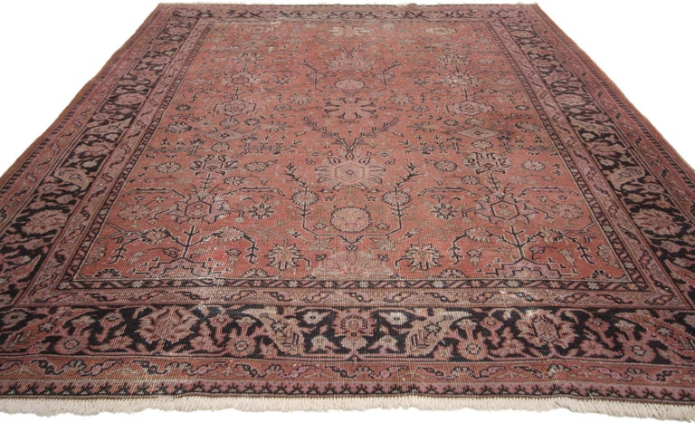 71513, distressed vintage Turkish rug with Romantic Swedish farmhouse style. Full of character and charm, this hand knotted wool distressed vintage Turkish rug with features an all-over geometric floral pattern composed of blooming splayed palmettes