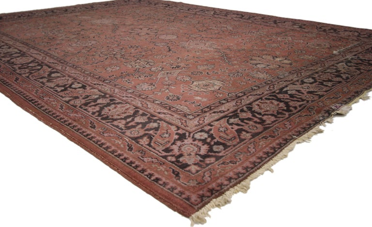 Hand-Knotted Distressed Vintage Turkish Rug with Romantic Swedish Farmhouse Style For Sale