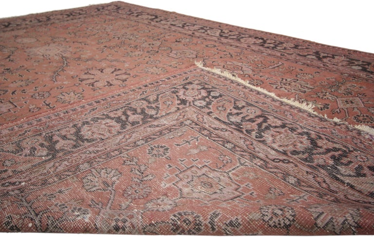 Distressed Vintage Turkish Rug with Romantic Swedish Farmhouse Style In Distressed Condition For Sale In Dallas, TX