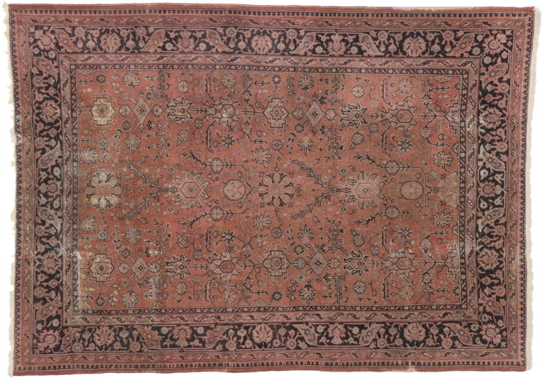 20th Century Distressed Vintage Turkish Rug with Romantic Swedish Farmhouse Style For Sale