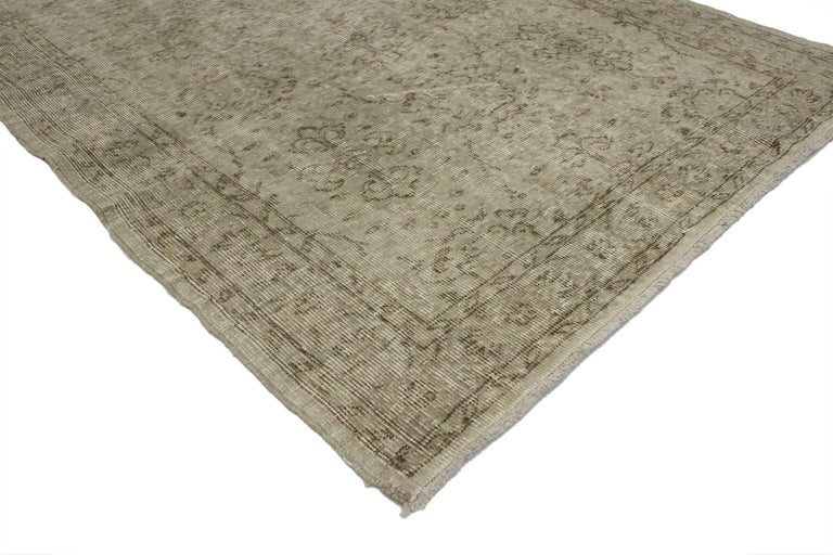 Hand-Knotted Distressed Vintage Turkish Rug with Rustic Farmhouse Style and Warm Colors For Sale
