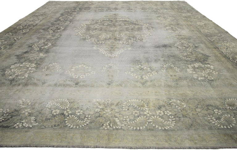 Hand-Knotted Distressed Vintage Turkish Rug with Rustic French Farmhouse Style For Sale