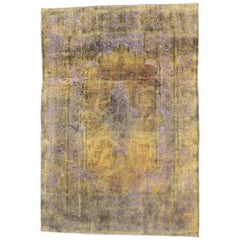 Citrine & Lavender Distressed Vintage Turkish Rug with Rustic French Industrial