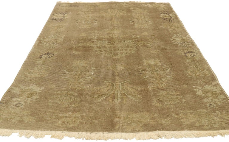 Distressed Vintage Turkish Rug with Shabby Chic Country Farmhouse Style In Distressed Condition For Sale In Dallas, TX