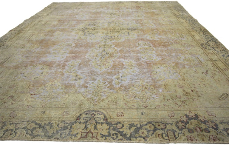 Industrial Distressed Vintage Turkish Rug with Shabby Chic Farmhouse Style For Sale