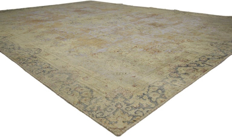 Hand-Knotted Distressed Vintage Turkish Rug with Shabby Chic Farmhouse Style For Sale