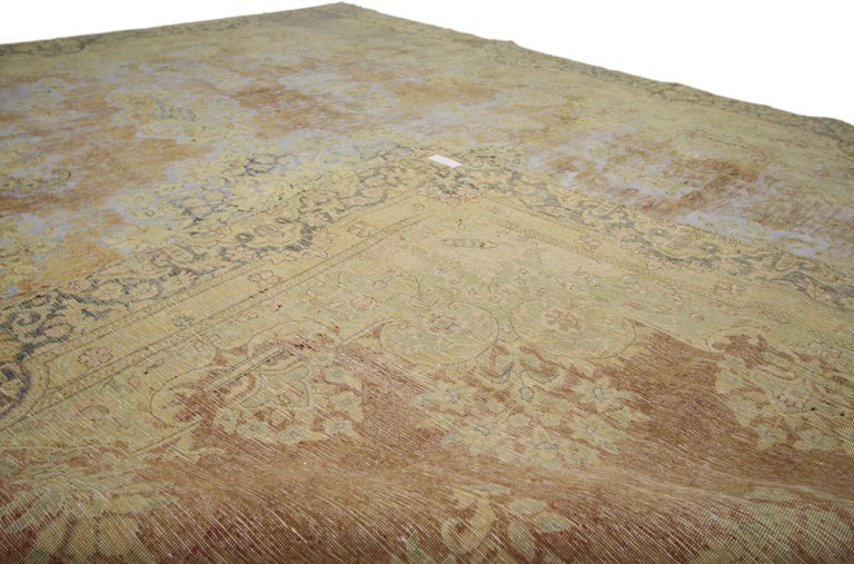 Distressed Vintage Turkish Rug with Shabby Chic Farmhouse Style In Distressed Condition For Sale In Dallas, TX