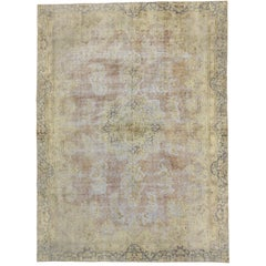 Distressed Vintage Turkish Rug with Shabby Chic Farmhouse Style