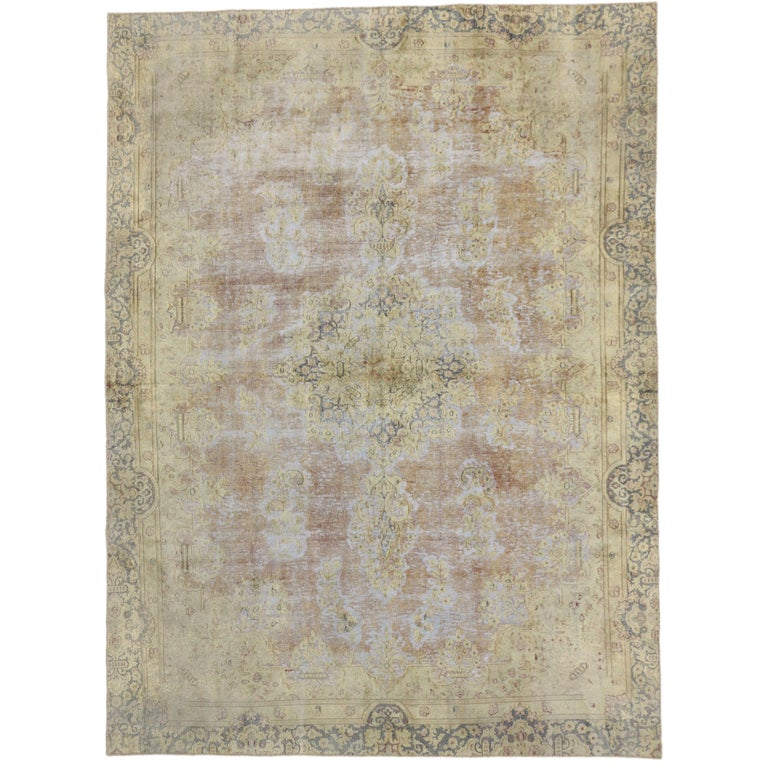 Distressed Vintage Turkish Rug with Shabby Chic Farmhouse Style For Sale