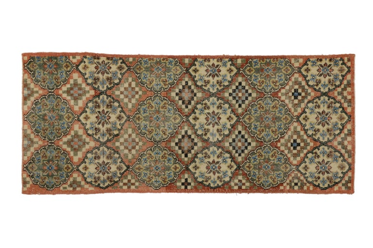 Hand-Knotted Distressed Vintage Turkish Sivas Accent Rug in Swedish Farmhouse Style For Sale