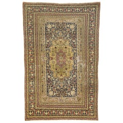 Distressed Vintage Turkish Sivas Gallery Rug with Industrial Artisan Style
