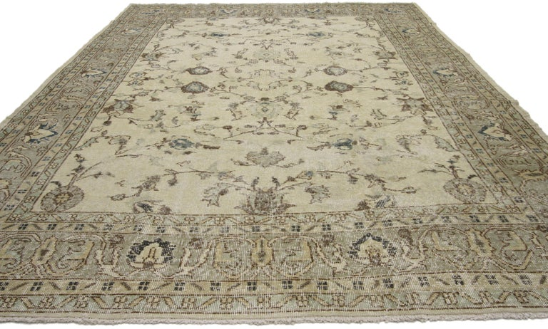 Hand-Knotted Distressed Vintage Turkish Sivas Rug with Shabby Chic Gustavian Style For Sale