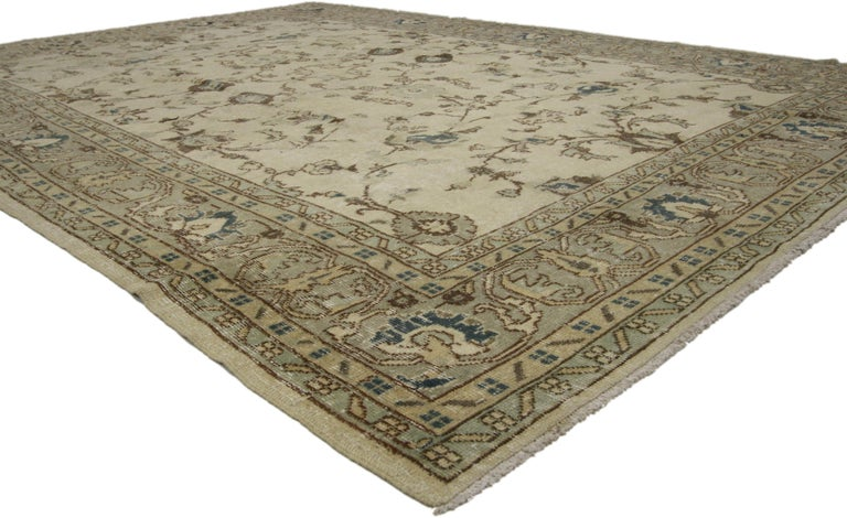 Distressed Vintage Turkish Sivas Rug with Shabby Chic Gustavian Style In Distressed Condition For Sale In Dallas, TX