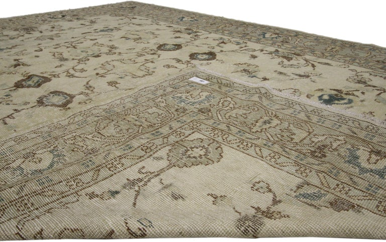 20th Century Distressed Vintage Turkish Sivas Rug with Shabby Chic Gustavian Style For Sale