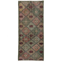 Distressed Vintage Turkish Sivas Runner with Arts & Crafts Cottage Style