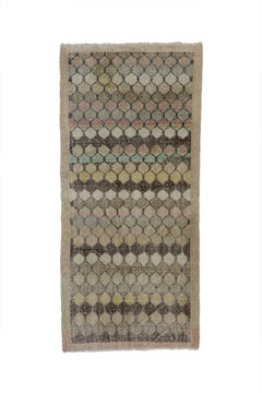 Distressed Vintage Turkish Sivas Rug with Industrial Art Deco Style