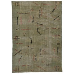 Distressed Vintage Turkish Sivas Rug with Industrial Rustic Asian Chic Style
