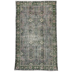 Distressed Vintage Turkish Sivas Rug with Industrial Style