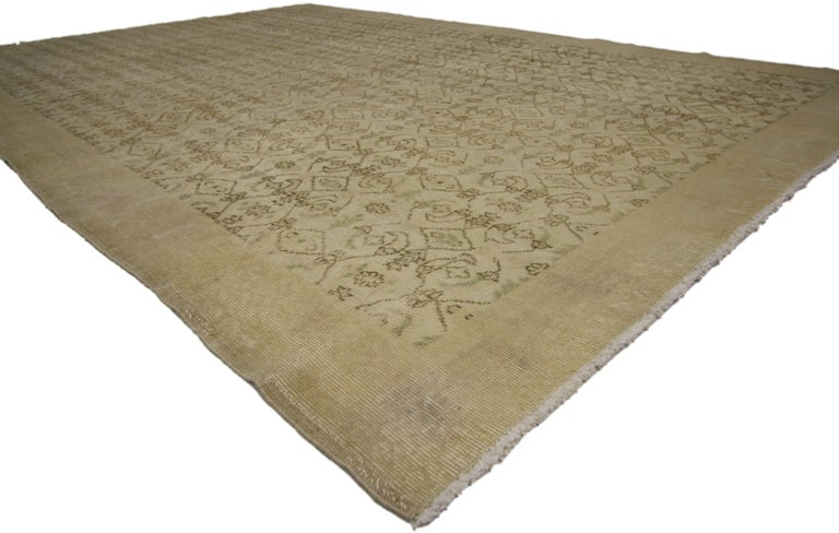 51153 Zeki Muren Distressed Vintage Turkish Sivas Rug with Shabby Chic Cottage Style. Lovingly timeworn with cottage charm and Gustavian grace, this hand knotted wool distressed Turkish Sivas rug beautifully embodies a Shabby Chic Farmhouse style.