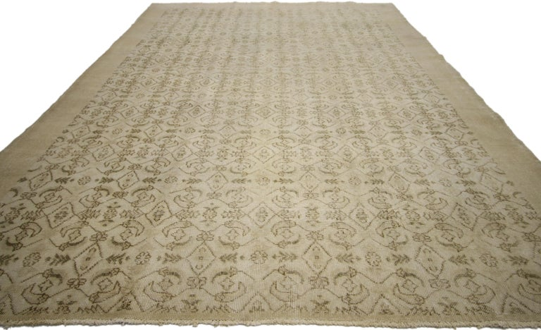 Hand-Knotted Zeki Muren Distressed Vintage Turkish Sivas Rug with Shabby Chic Cottage Style For Sale