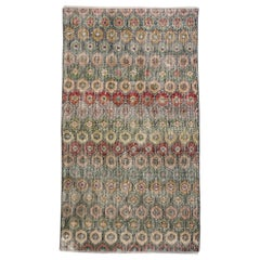 Distressed Vintage Turkish Sivas Rug with Modern Rustic Bungalow Style