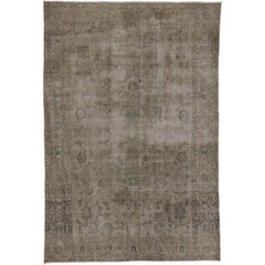 Distressed Vintage Turkish Sivas Rug with Modern Style