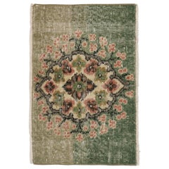 Distressed Vintage Turkish Sivas Rug with Romantic English Country Cottage Style