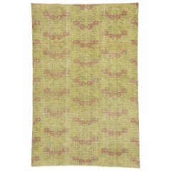 Distressed Vintage Turkish Sivas Rug with Romantic French Country Chintz Style