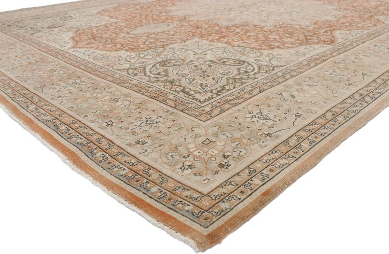 52651, distressed vintage Turkish Sivas rug with Romantic Rustic Art Nouveau style. Balancing a timeless design with a romantic rustic sensibility, this hand knotted wool distressed vintage Turkish Sivas rug beautifully embodies Art Nouveau style. A