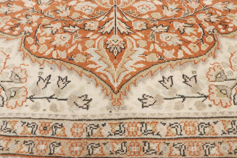 Hand-Knotted Distressed Vintage Turkish Sivas Rug with Romantic Rustic Art Nouveau Style For Sale