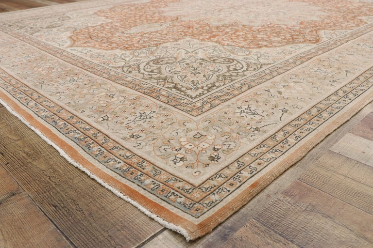 20th Century Distressed Vintage Turkish Sivas Rug with Romantic Rustic Art Nouveau Style For Sale