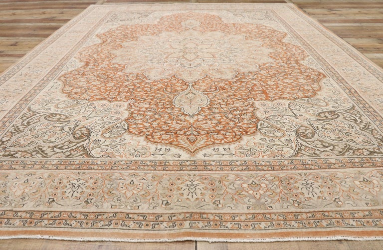 Wool Distressed Vintage Turkish Sivas Rug with Romantic Rustic Art Nouveau Style For Sale