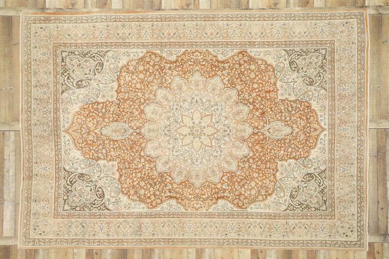 Distressed Vintage Turkish Sivas Rug with Romantic Rustic Art Nouveau Style For Sale 1