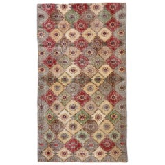 Distressed Vintage Turkish Sivas Rug with Romantic Shabby Chic Style