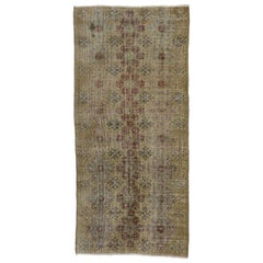 Distressed Vintage Turkish Sivas Rug with Rustic Arts and Crafts Style