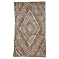 Distressed Vintage Turkish Sivas Rug with Rustic Bohemian Style