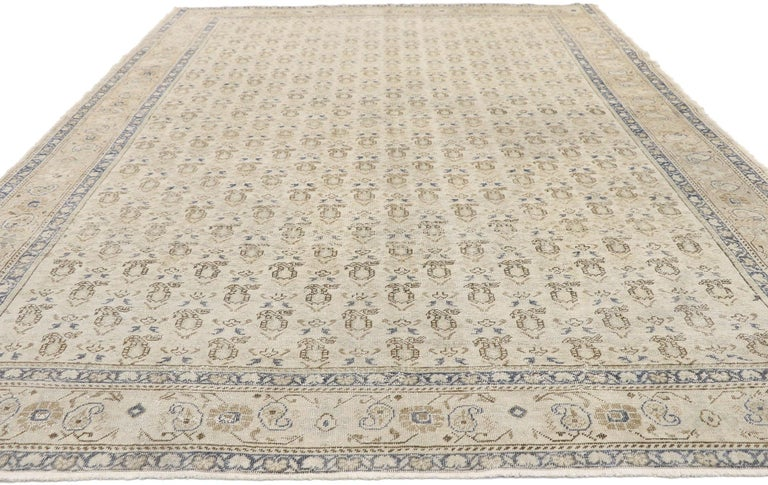 Hand-Knotted Distressed Vintage Turkish Sivas Rug with Rustic British Colonial Style For Sale