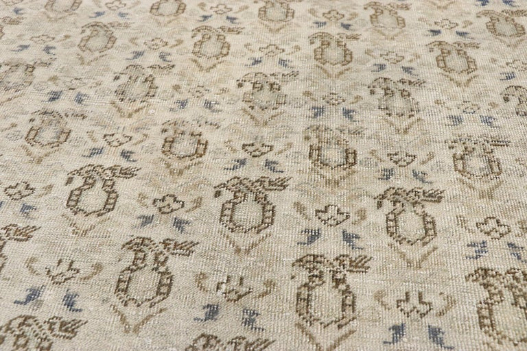 Distressed Vintage Turkish Sivas Rug with Rustic British Colonial Style In Distressed Condition For Sale In Dallas, TX