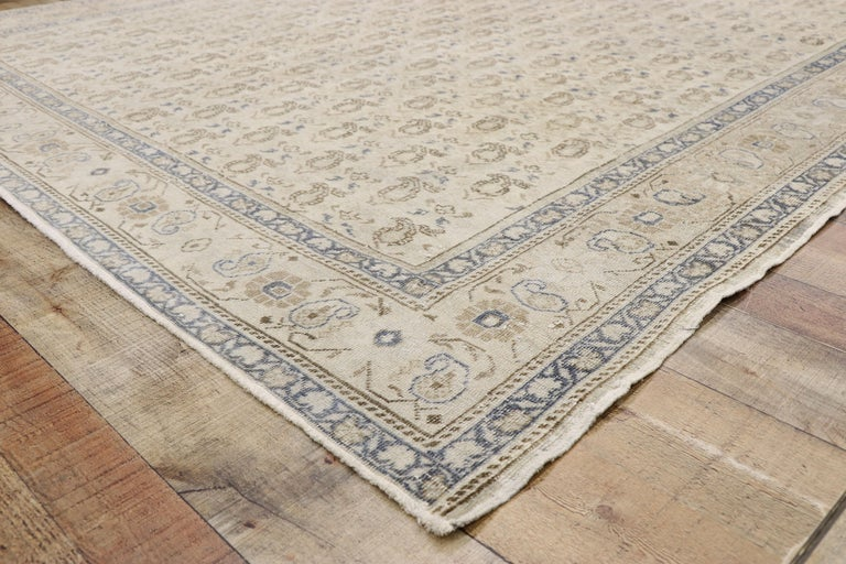 Wool Distressed Vintage Turkish Sivas Rug with Rustic British Colonial Style For Sale