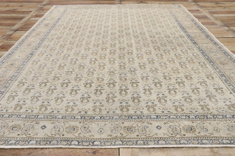 Distressed Vintage Turkish Sivas Rug with Rustic British Colonial Style For Sale 1