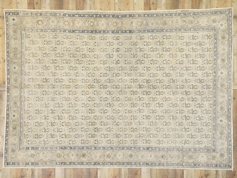 Distressed Vintage Turkish Sivas Rug with Rustic British Colonial Style For Sale 2