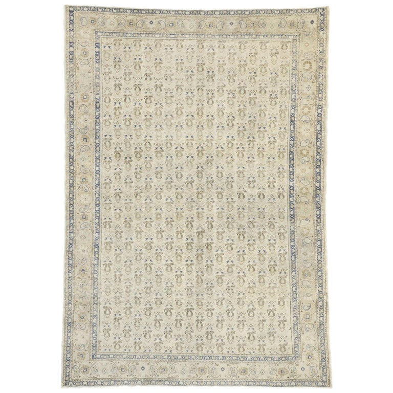 Distressed Vintage Turkish Sivas Rug with Rustic British Colonial Style For Sale