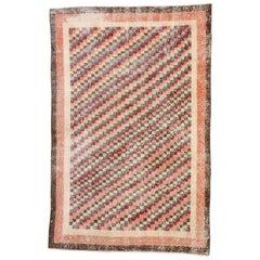 Distressed Vintage Turkish Sivas Rug with Rustic Cubist Style